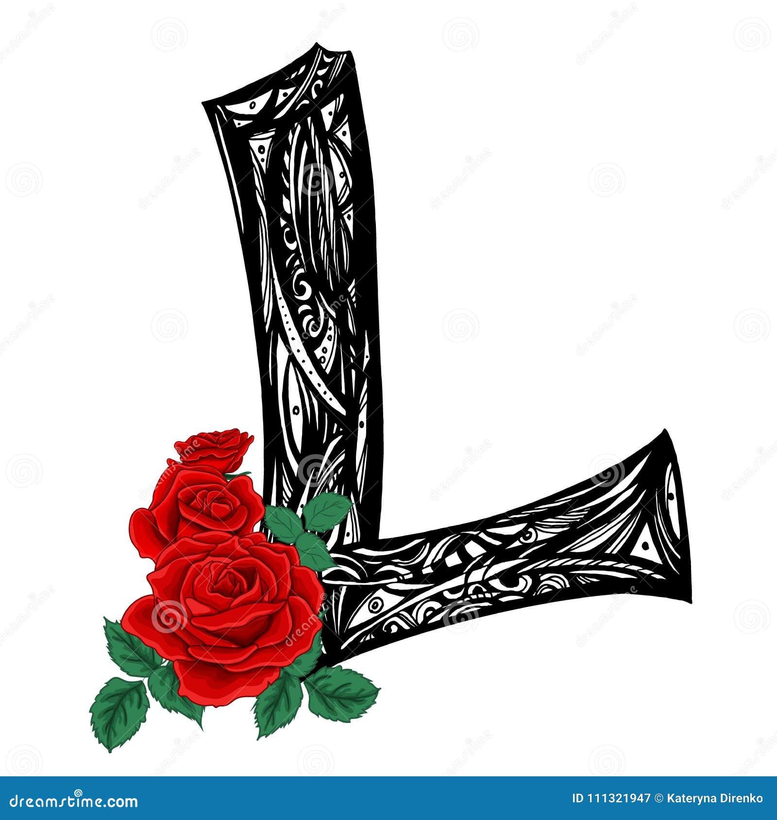 Majuscule L Grande Lettre Modele Noir Et Blanc Avec Des Roses D
