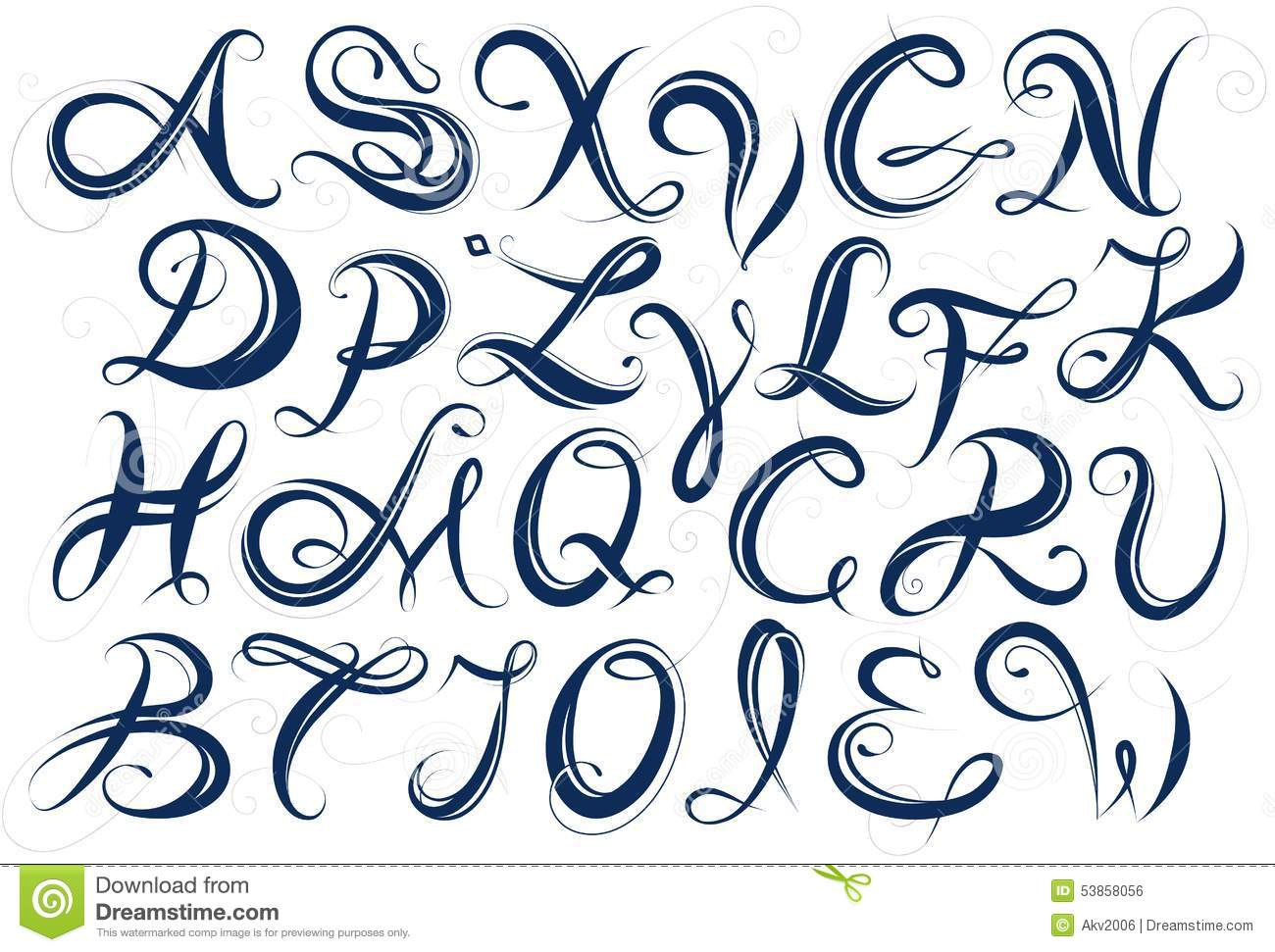 Majuscules D Alphabet Manuscrit Illustration De Vecteur