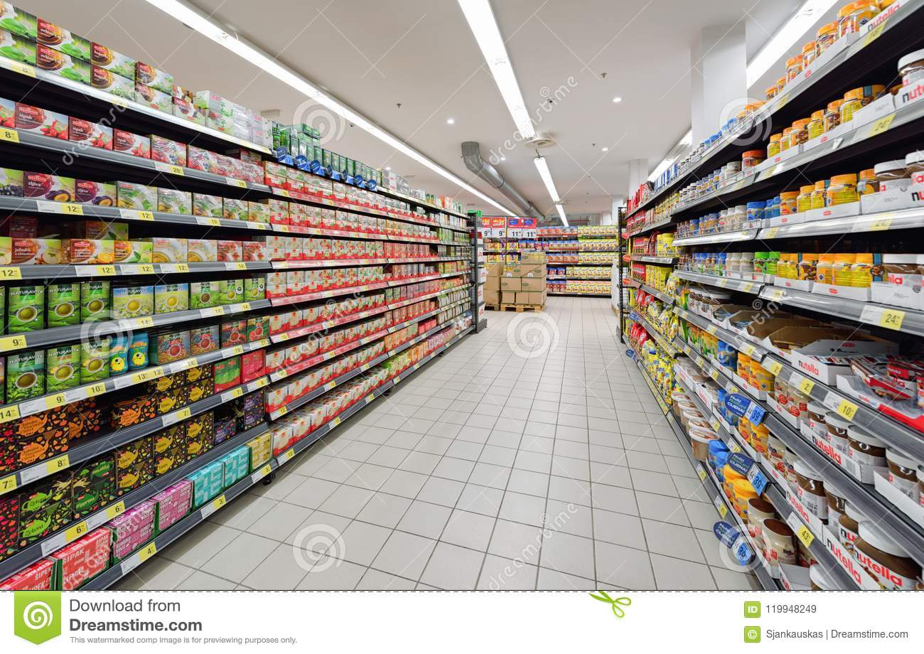 Aisles Of A Supermarket Grocery Store Editorial Stock Image Image Of Colorful Konzum 119948249