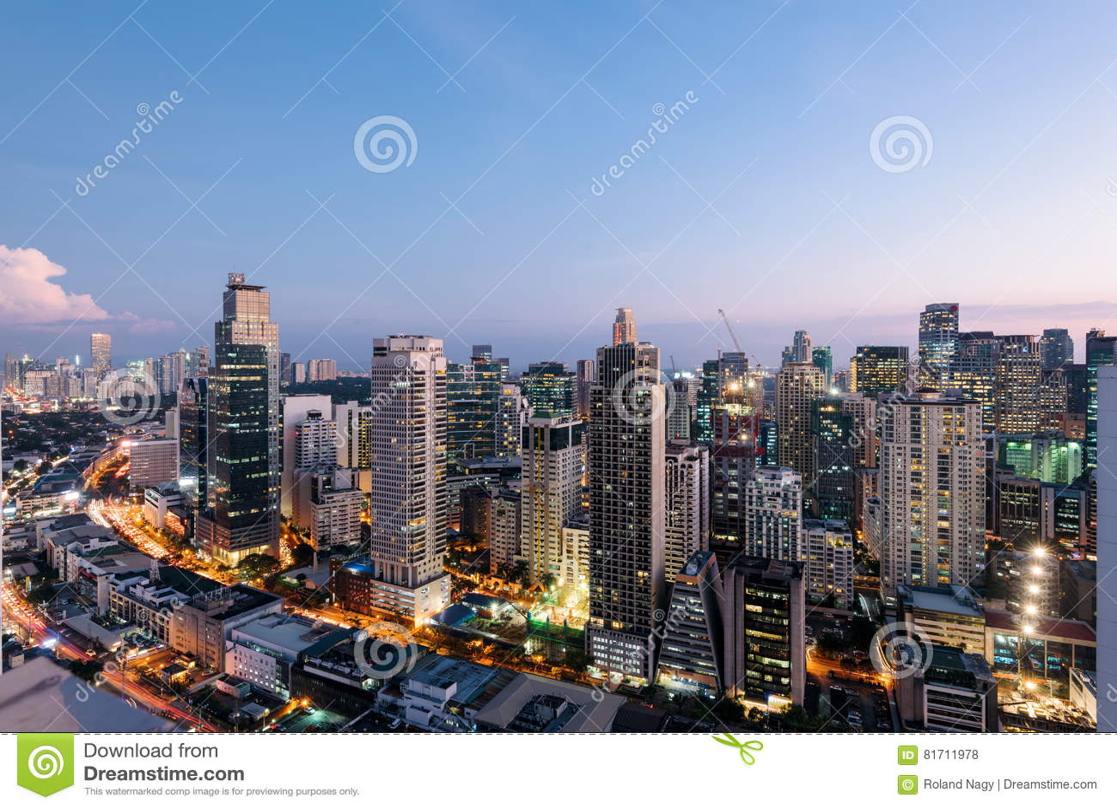 Makati miasta linia horyzontu Manila, Filipiny, -
