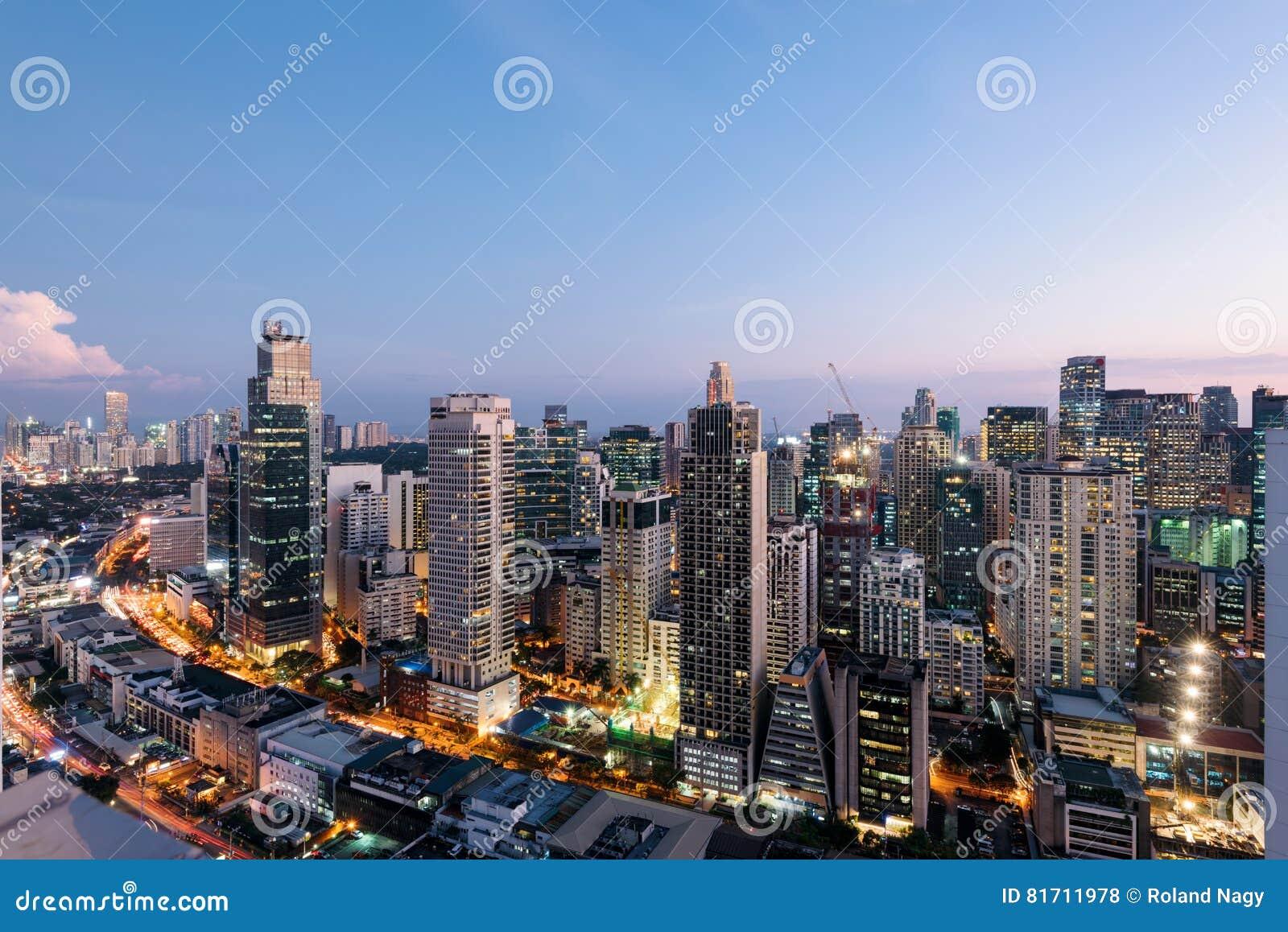 Makati stadshorisont, Manila - Filippinerna