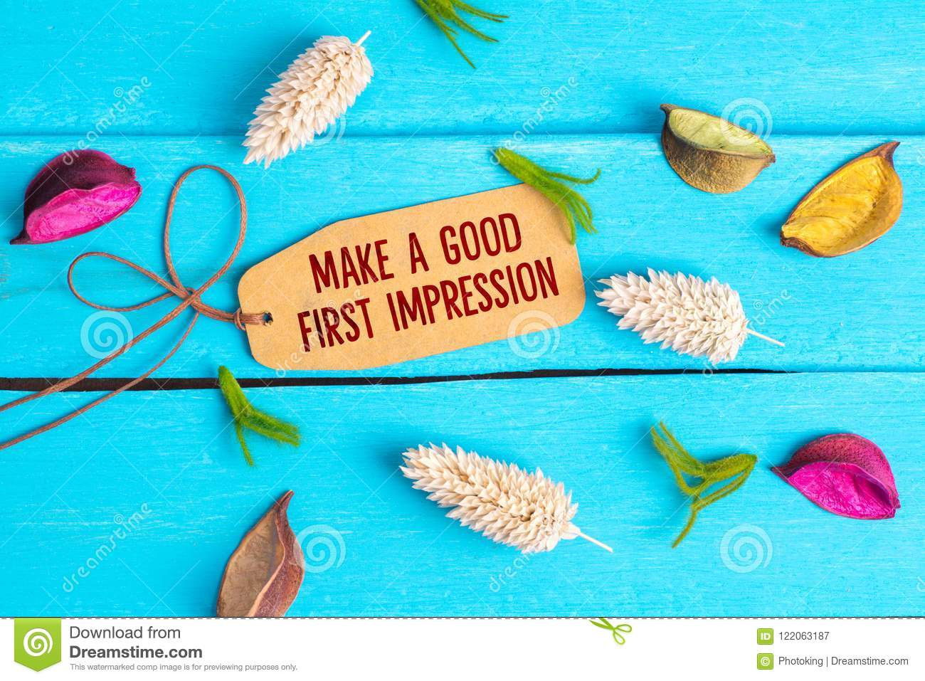 Make a good first impression text on paper tag