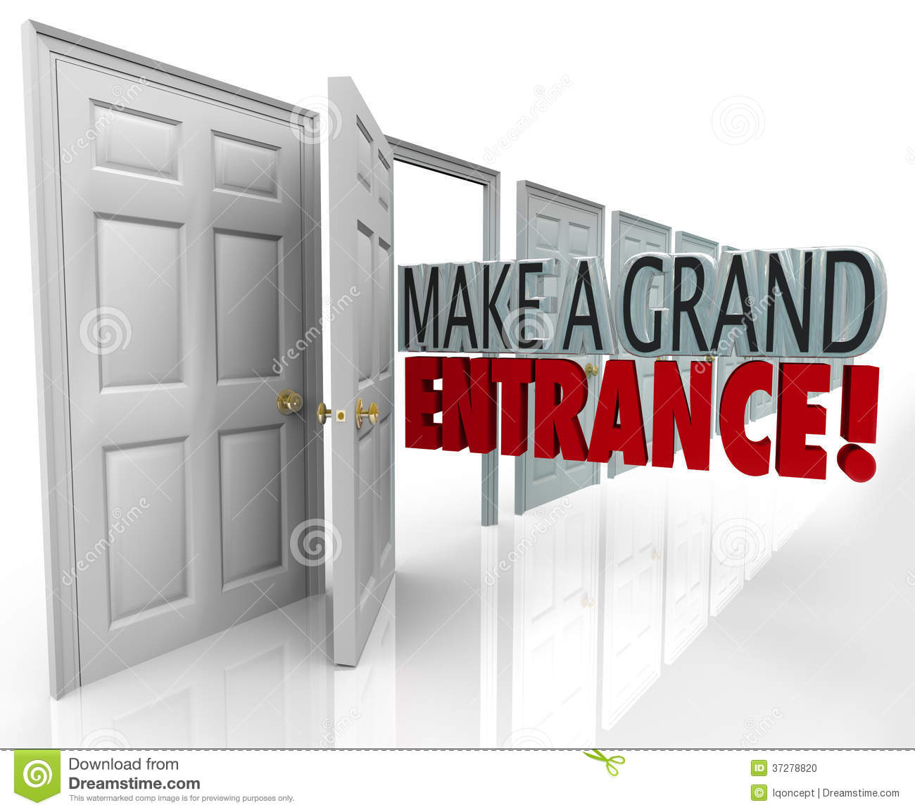 make a grand entrance words in an open door to illustrate making a big ...