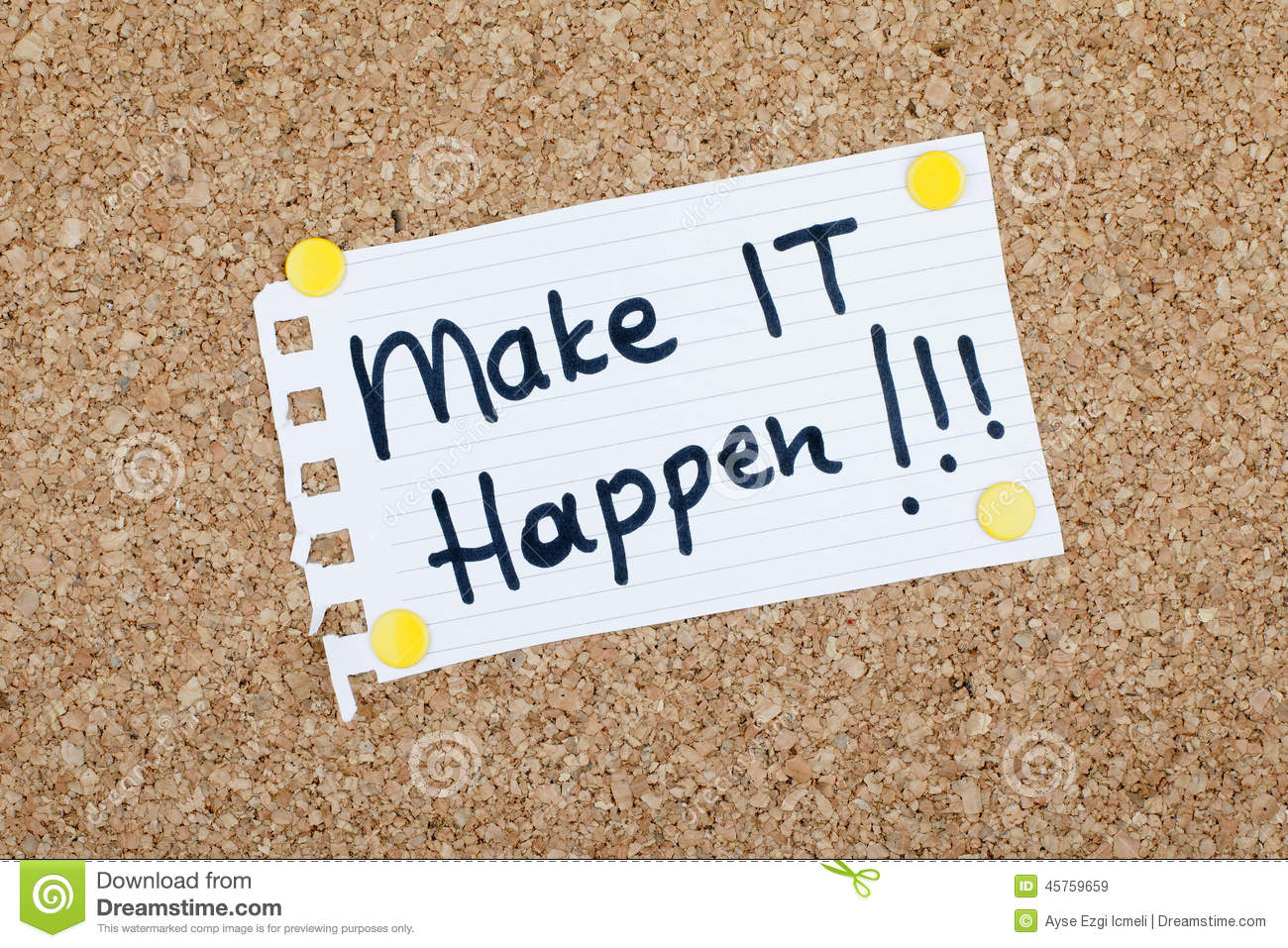 Make it happen motivational quote stock photo image for Inspirational quotes for office notice board