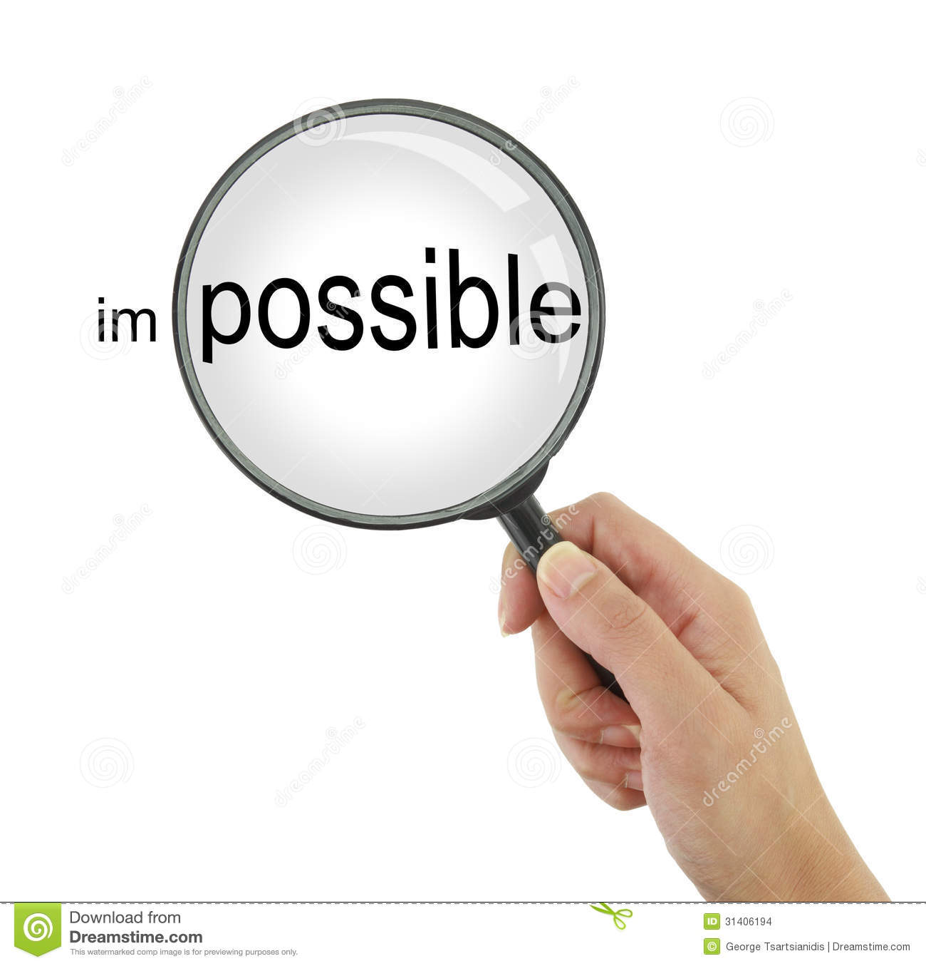 Make the impossible possible! Hand holding a magnifying glass.