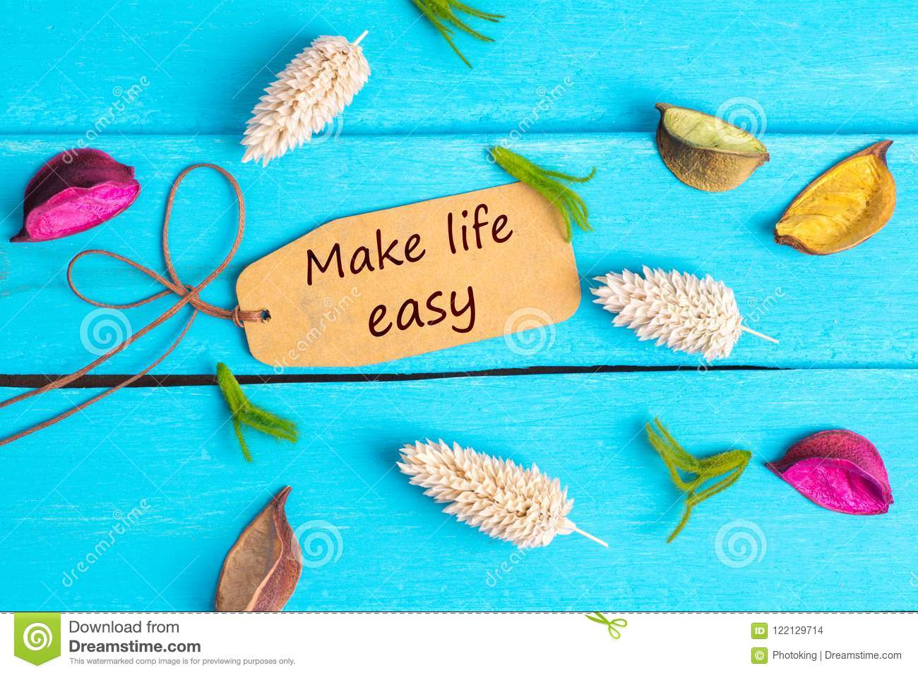Make life easy text on paper tag