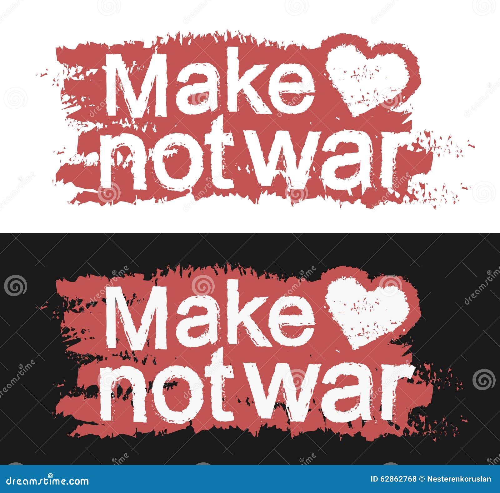 Make Love Not War Graffiti Print Stock Vector