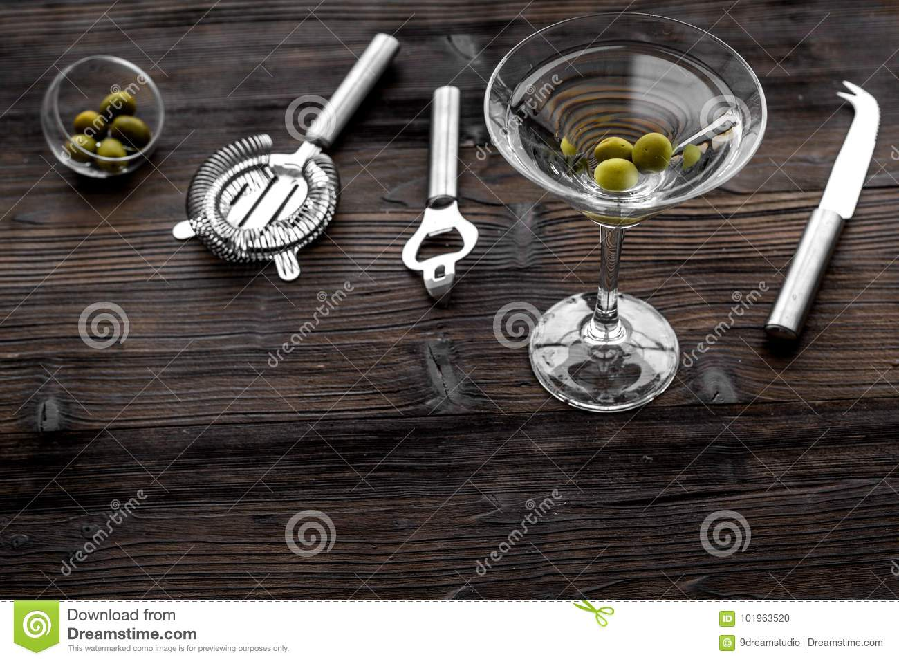 Make Martini Cocktails  Glass With Beverage, Olives And