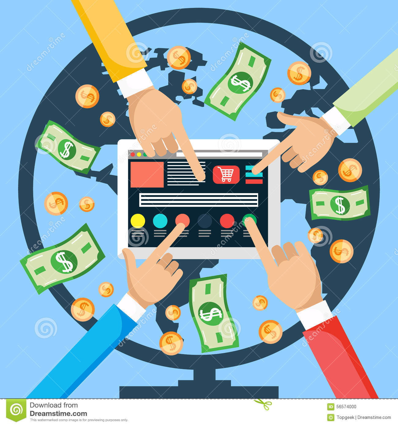 Make Money From Internet Stock Vector Illustration Of Money 56574000