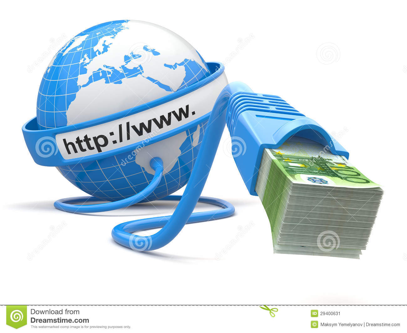 Make Money Online. Concept. Earth And Internet Cable With Money ...