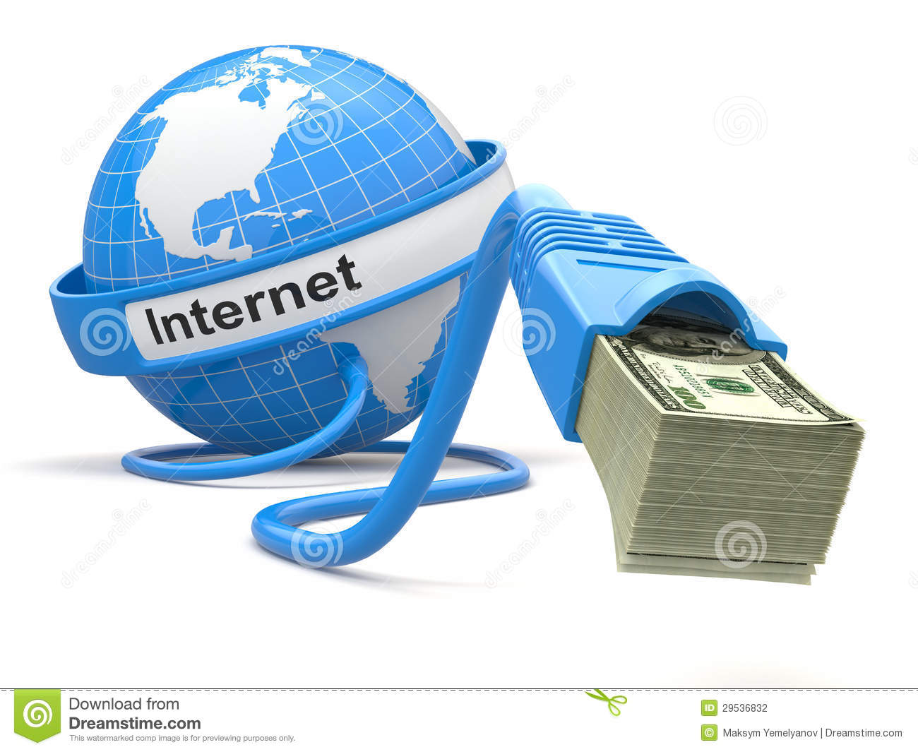 Make Money Online Concept Earth And Internet Cable With Money