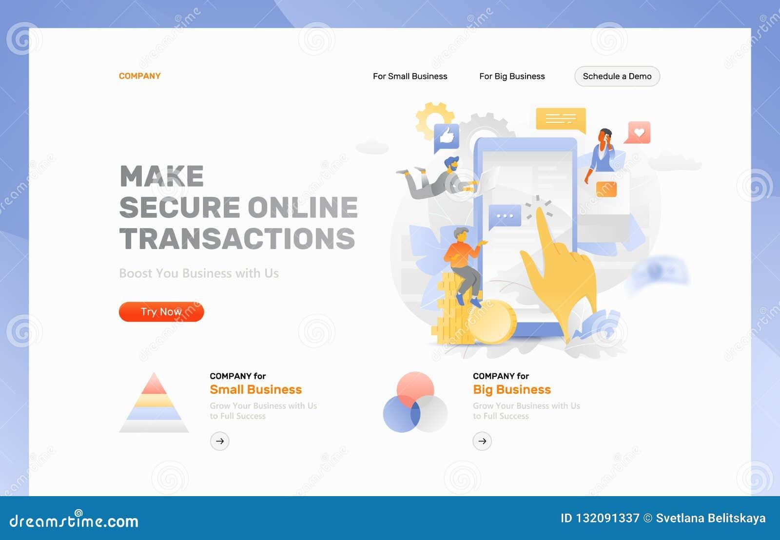 make online transactions header template stock vector illustration