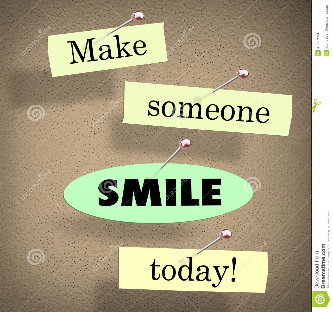 Make A Quote Make Someone Smile Today Quote Saying Bulletin Board Stock