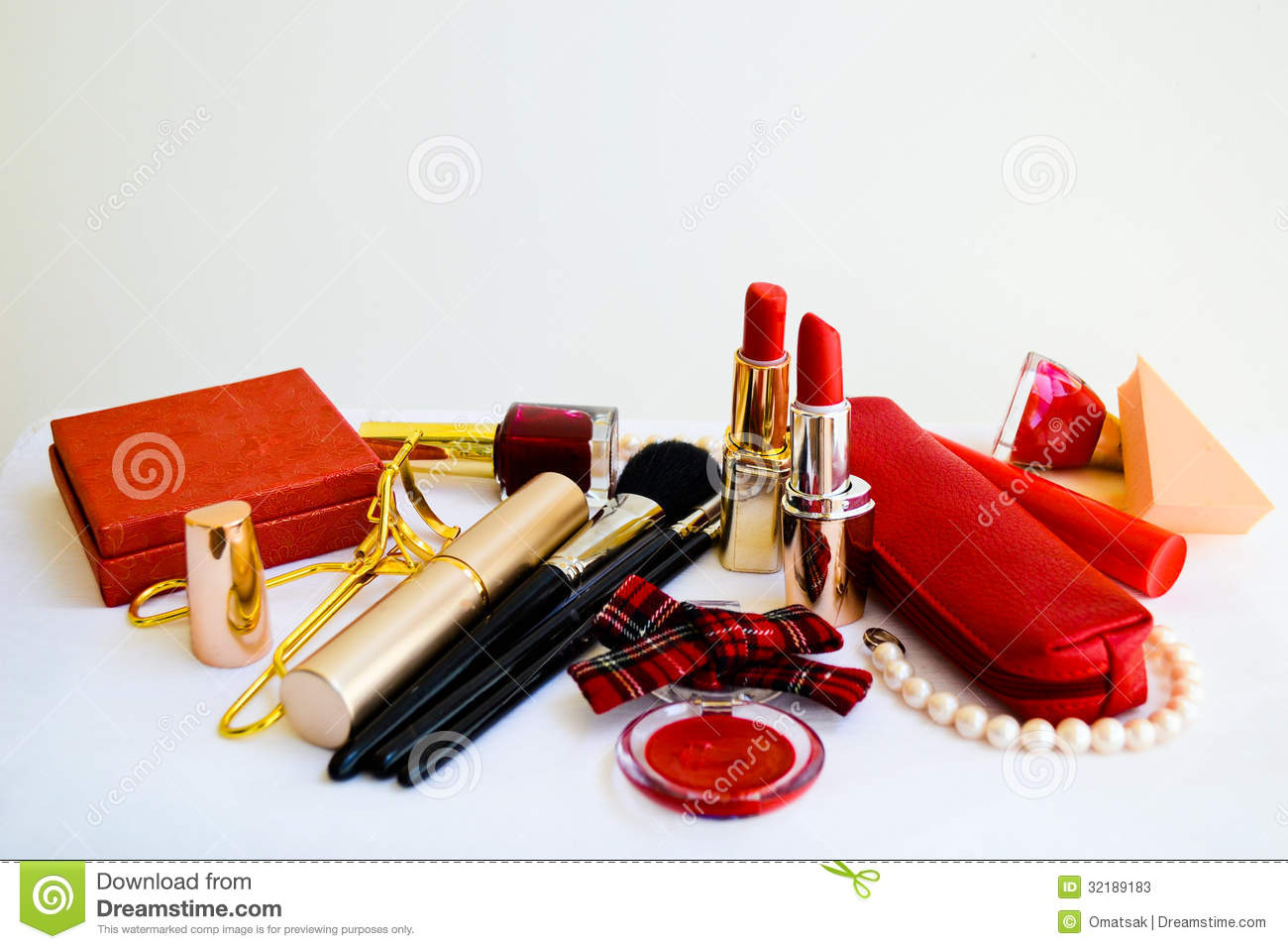 Make Up Accessories On White Background Stock Photos