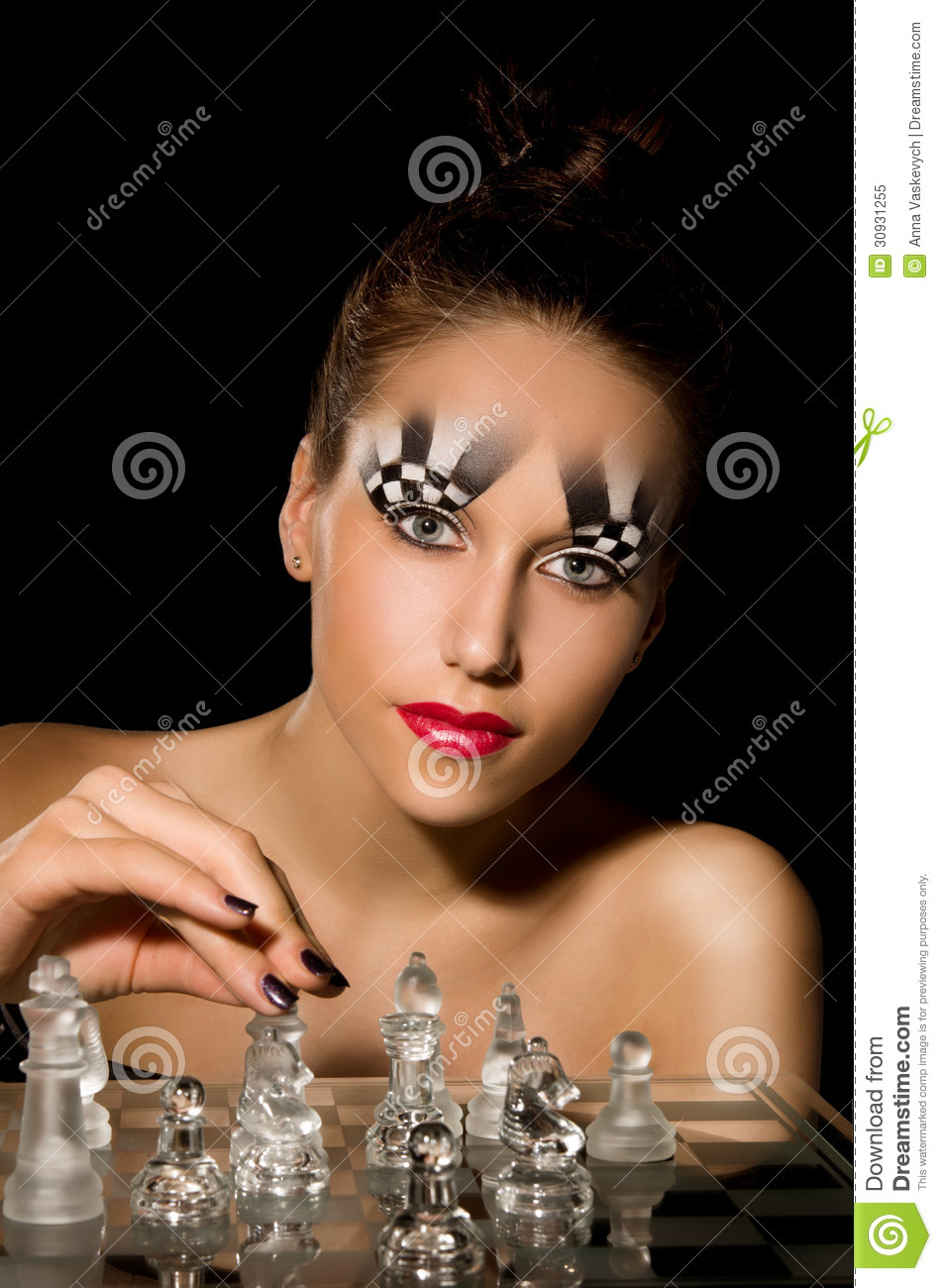 Make Up Art In The Form Of Chessboard Stock Image Image Of Girl