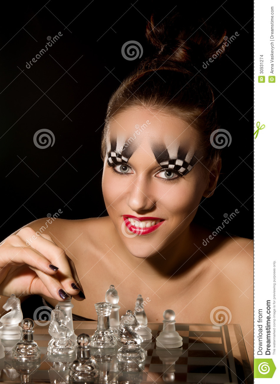 Make Up Art In The Form Of Chessboard Stock Photo Image Of