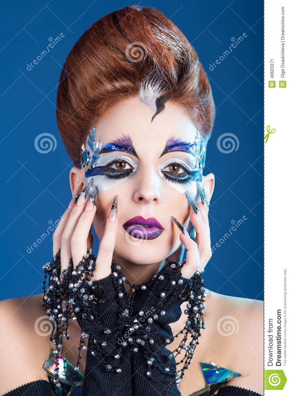Make up art, long nails, new idea