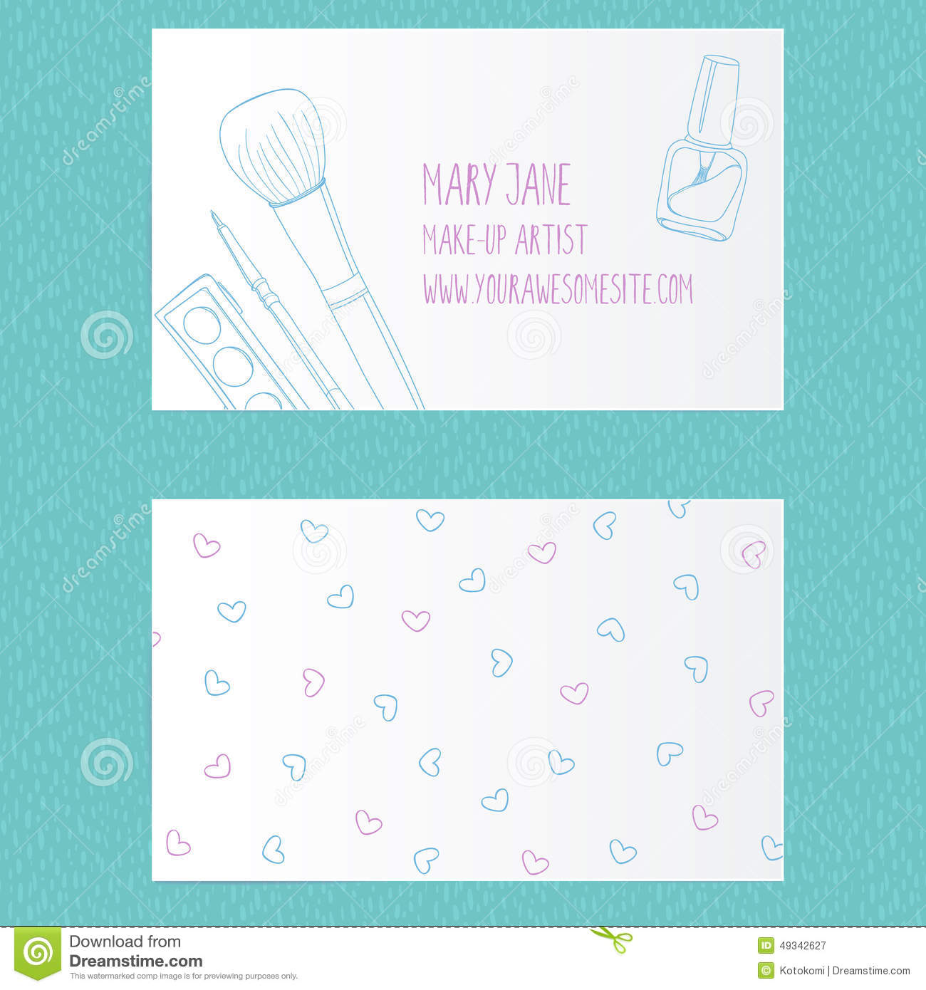 Make Up Artist Business Card Template Stock Illustration ...