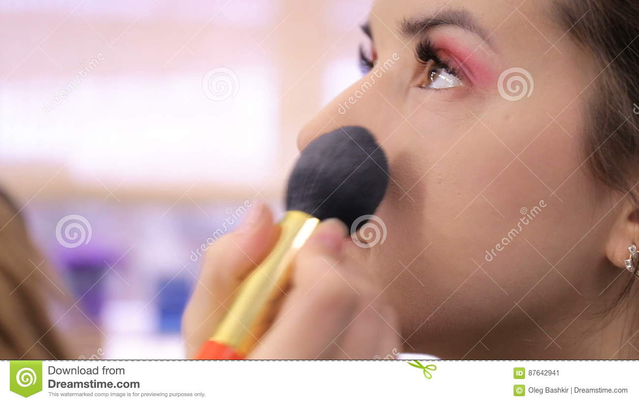 Make-up Artist Doing Make-up, Face Close-up Stock Video - Video of