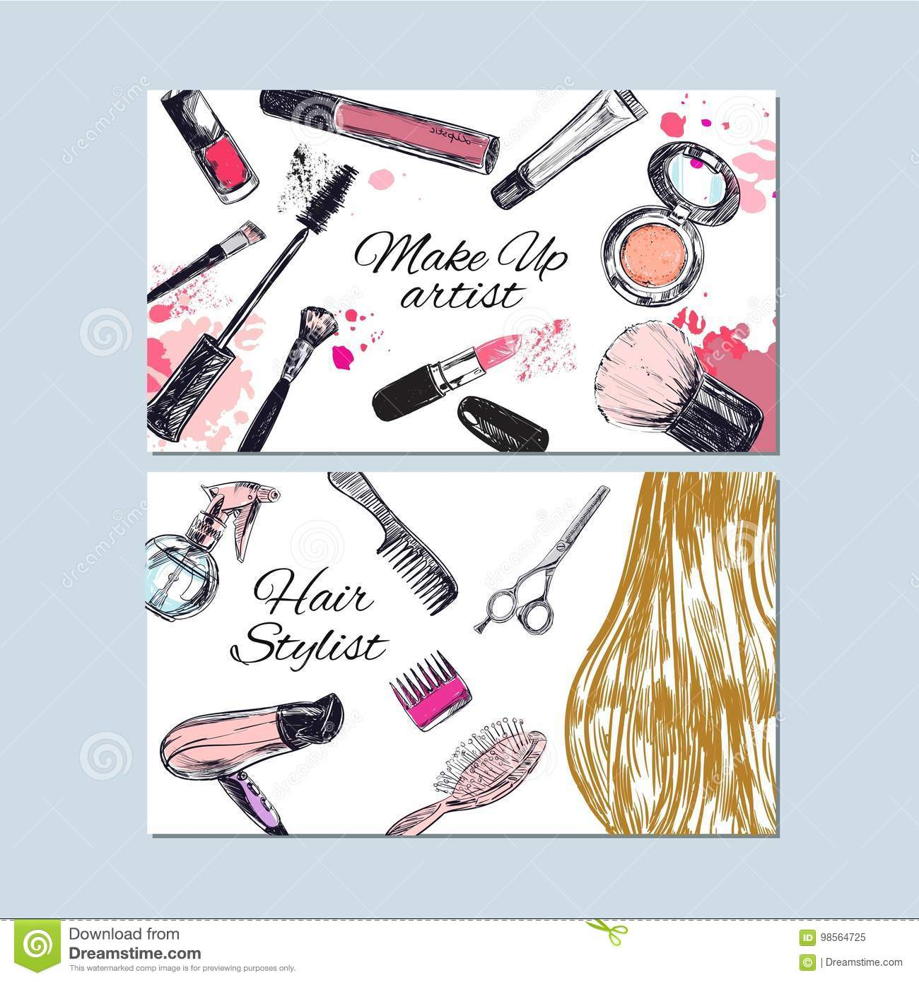 Make up artist and hair stylist business cards beauty and fashion make up artist and hair stylist business cards beauty and fashion vector hand draw friedricerecipe Gallery