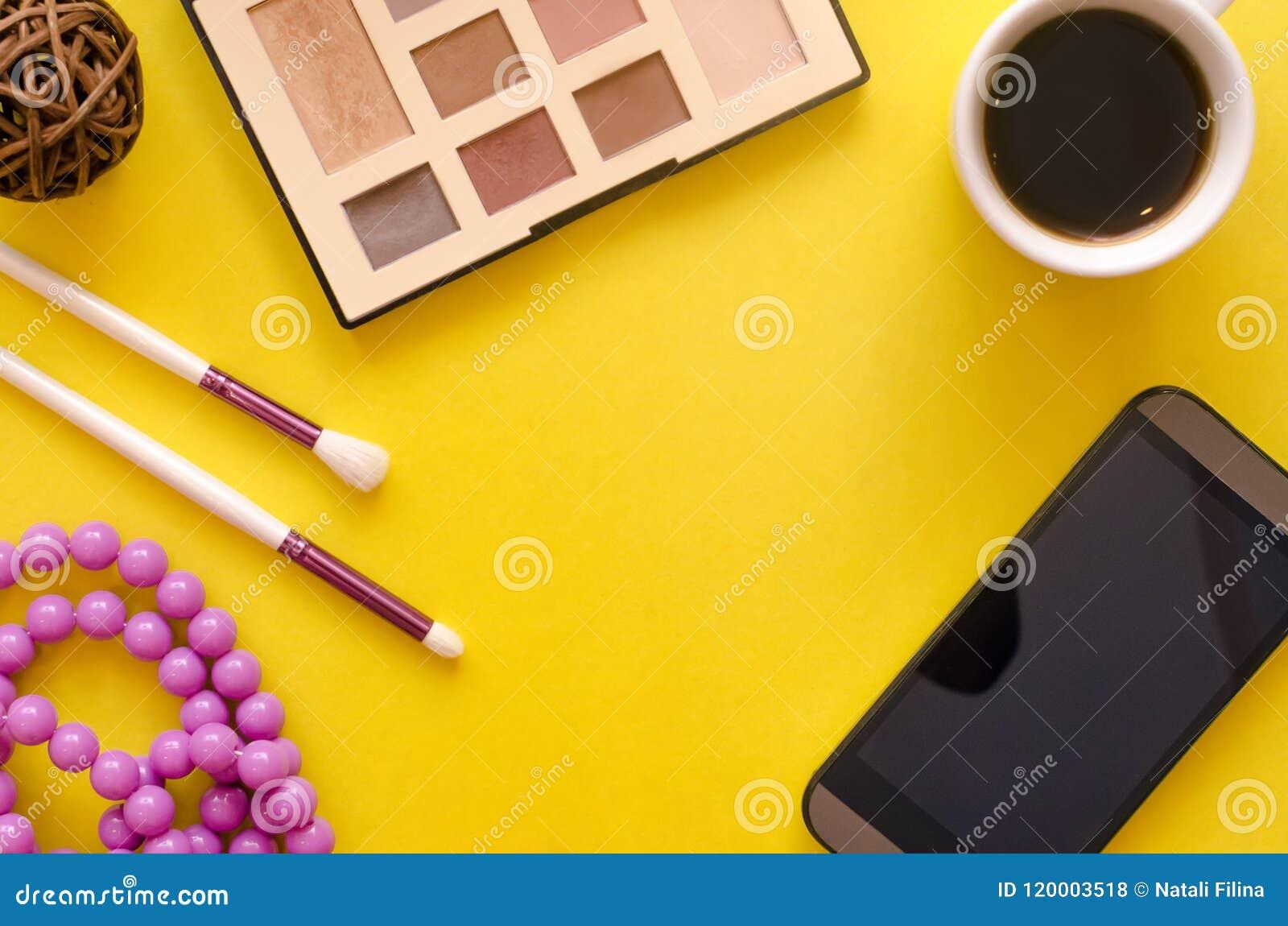 Make up beauty and fashion background.