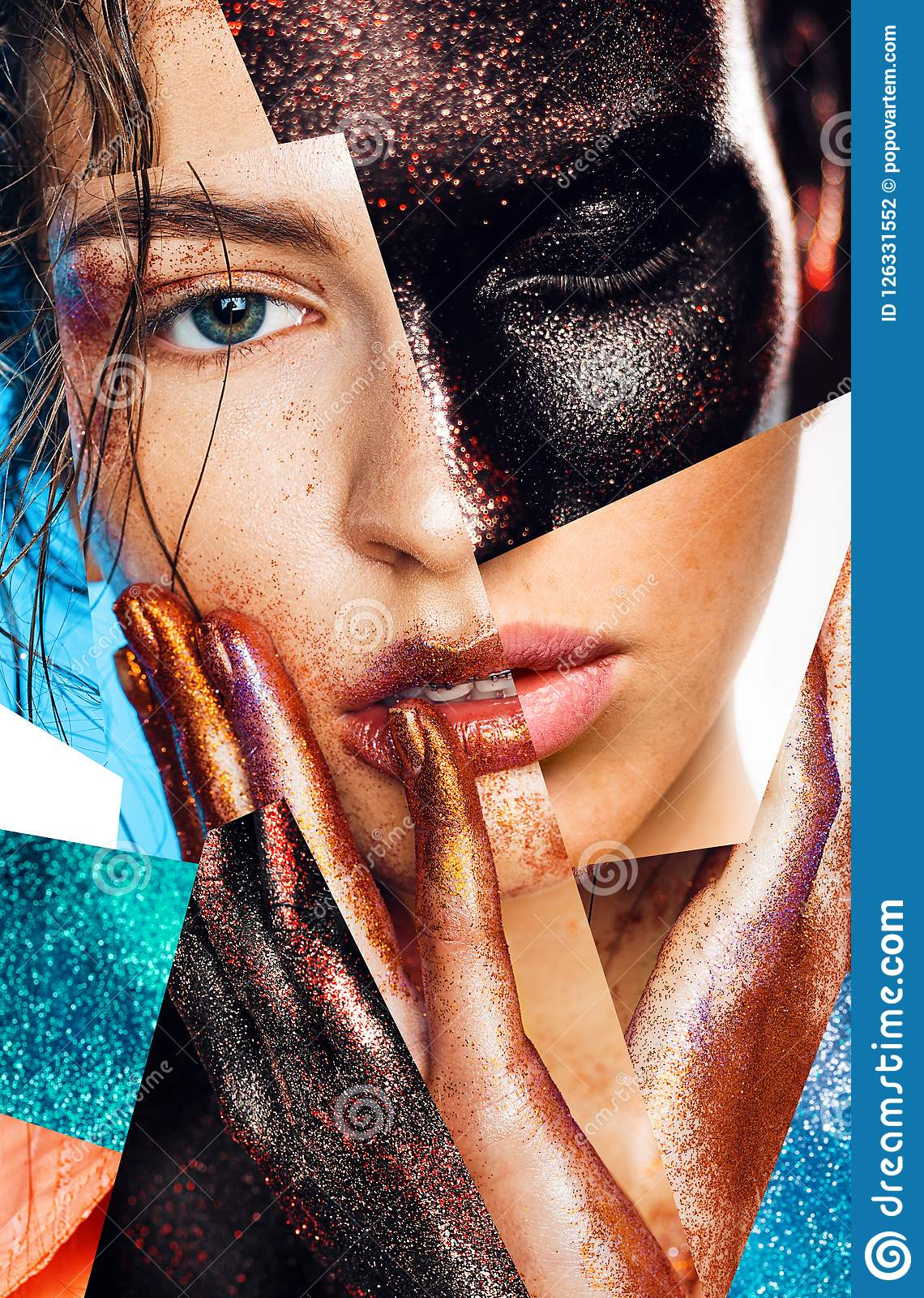 Composition Of Women Portraits With Glitters On Face And Hands Stock Photo Image Of Imagination Model 126331552