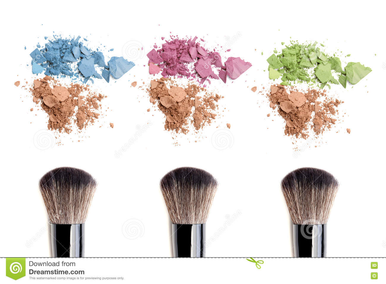 Make-up brush and color powder isolated on white background.