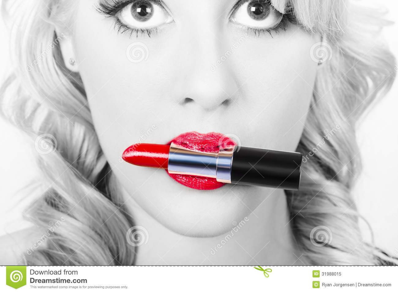Make Up Closeup Cosmetic Pinup Girl In Lip Makeup Royalty Free Stock Photo Image 31988015