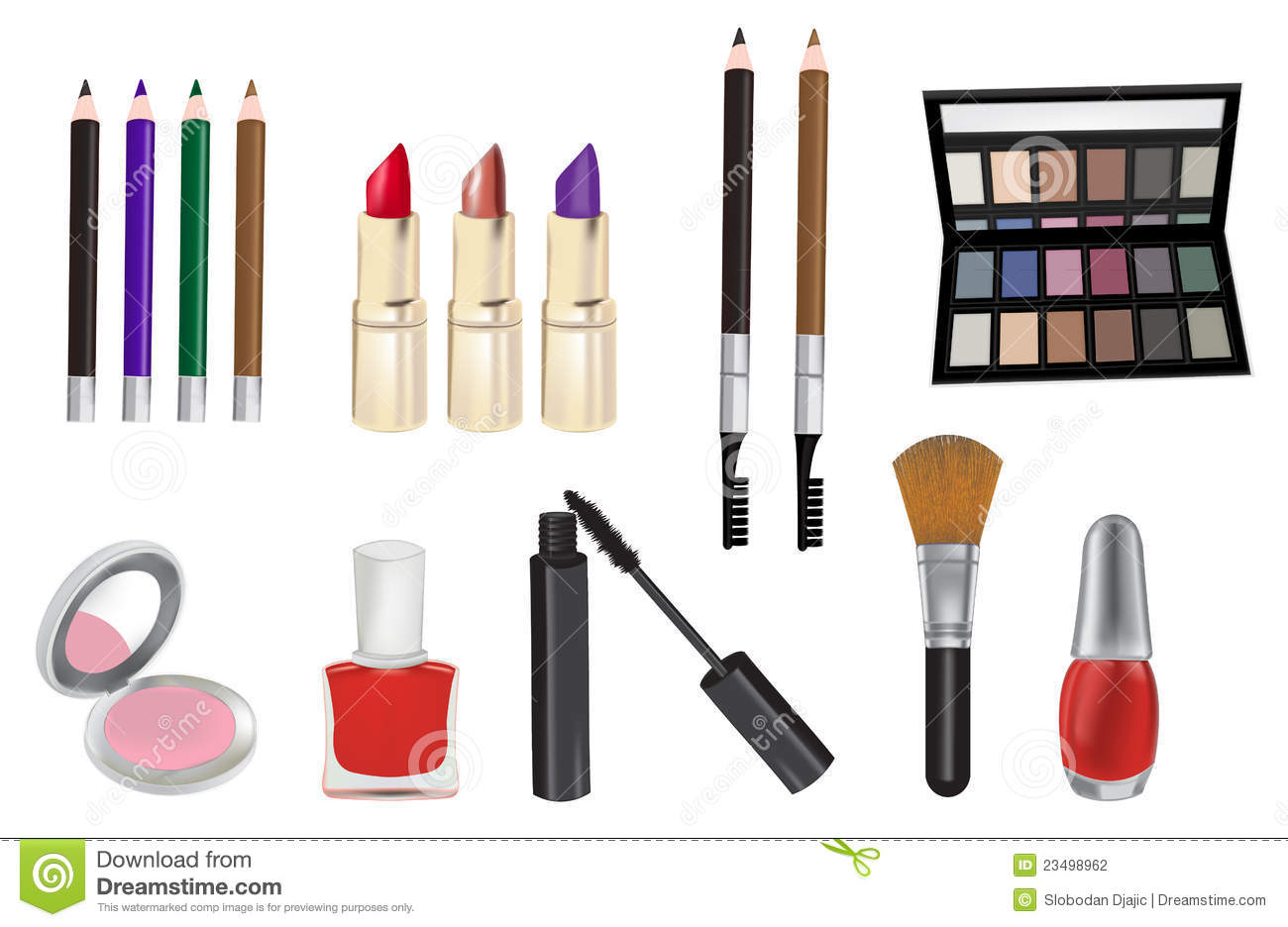 Make Up And Cosmetics Vector Illustration Stock Vector Image 23498962