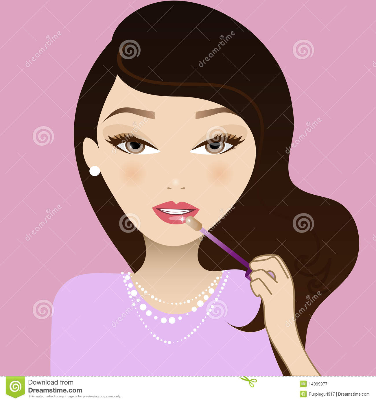 Girl Putting On Makeup Clipart Make Up Girl Royalty F...