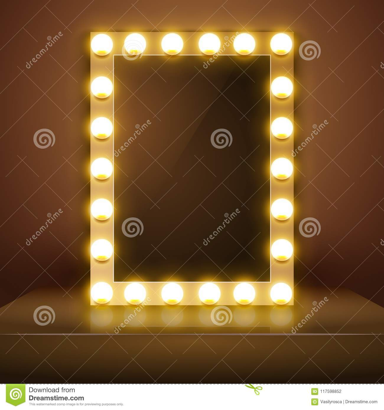 Make Up Mirror With Light Vector Artist Dressing Room Make Up