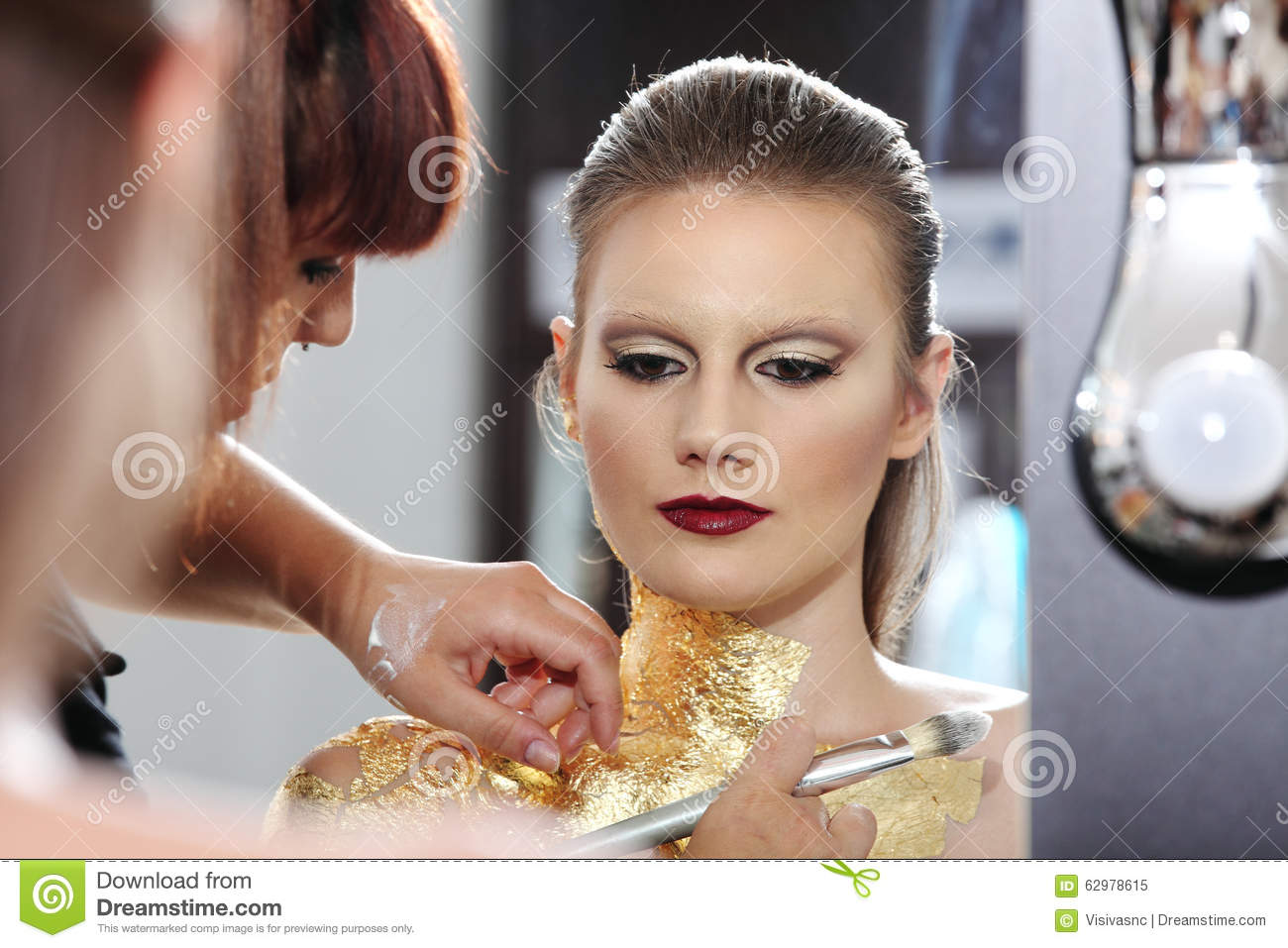 Make Up Model At Mirror Gilded Body Paint Stock Image Image Of