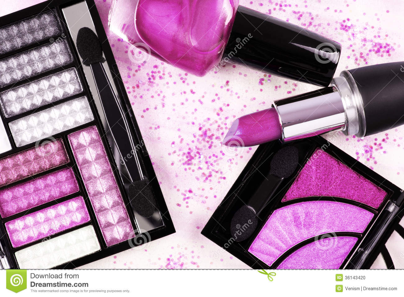 Make-up products in pink stock photo. Image of eyeshadow ...