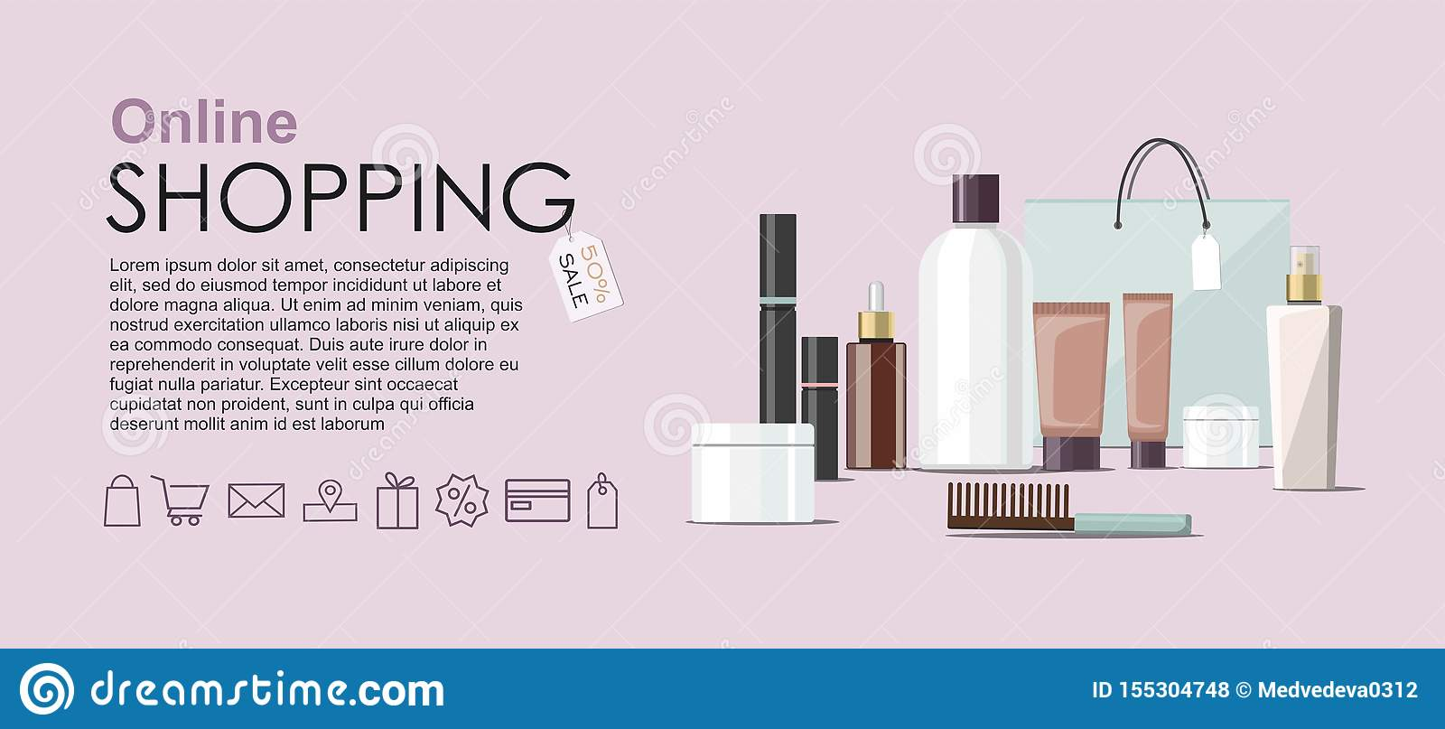 Make Up products and Skincare Packaging with cosmetic bag. Online shopping web banner