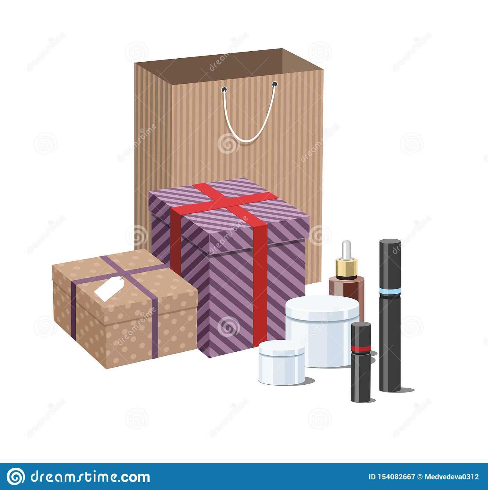 Make Up products and Skincare Packaging with craft wrapped gift boxes. 3D