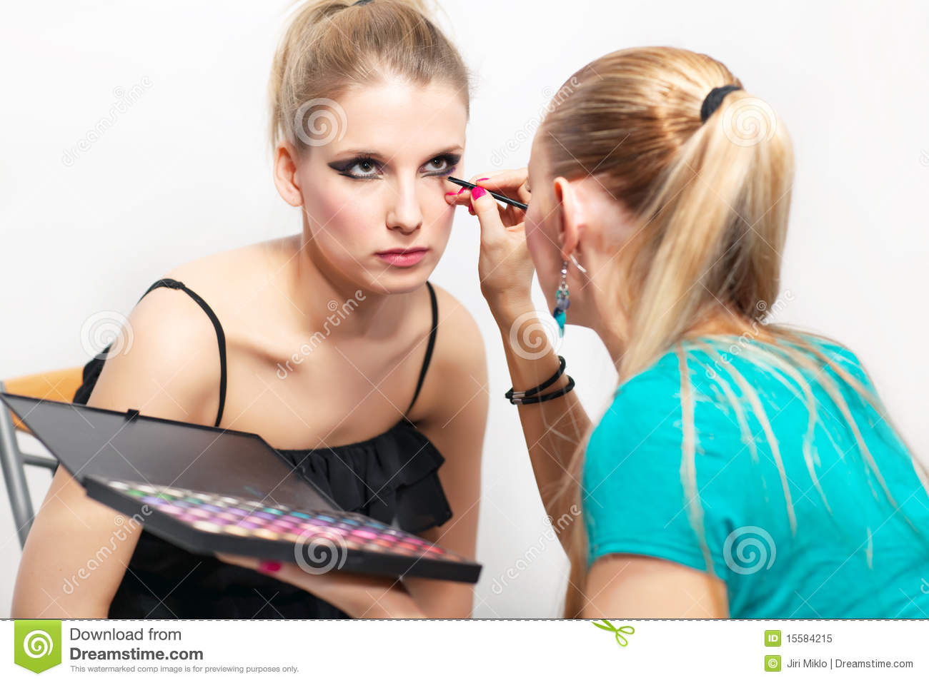 Make Up Session Two Young Women Royalty Free Stock