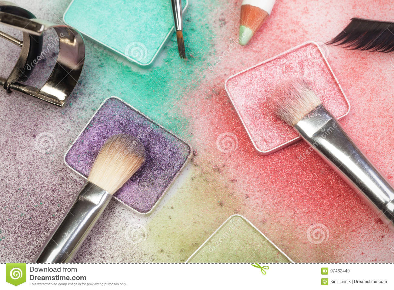 Download Make-up tools on white stock image. Image of cosmetics - 97462449