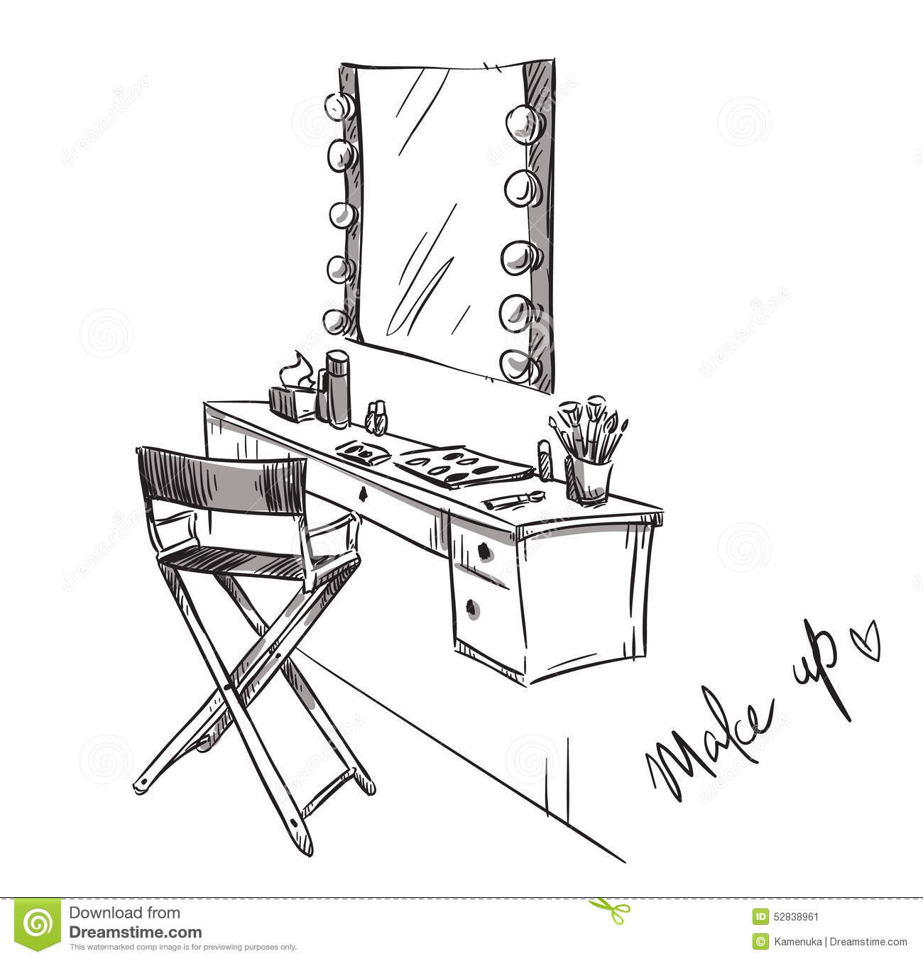 Line Art Vanity : Make up vanity table and folding chair illustration