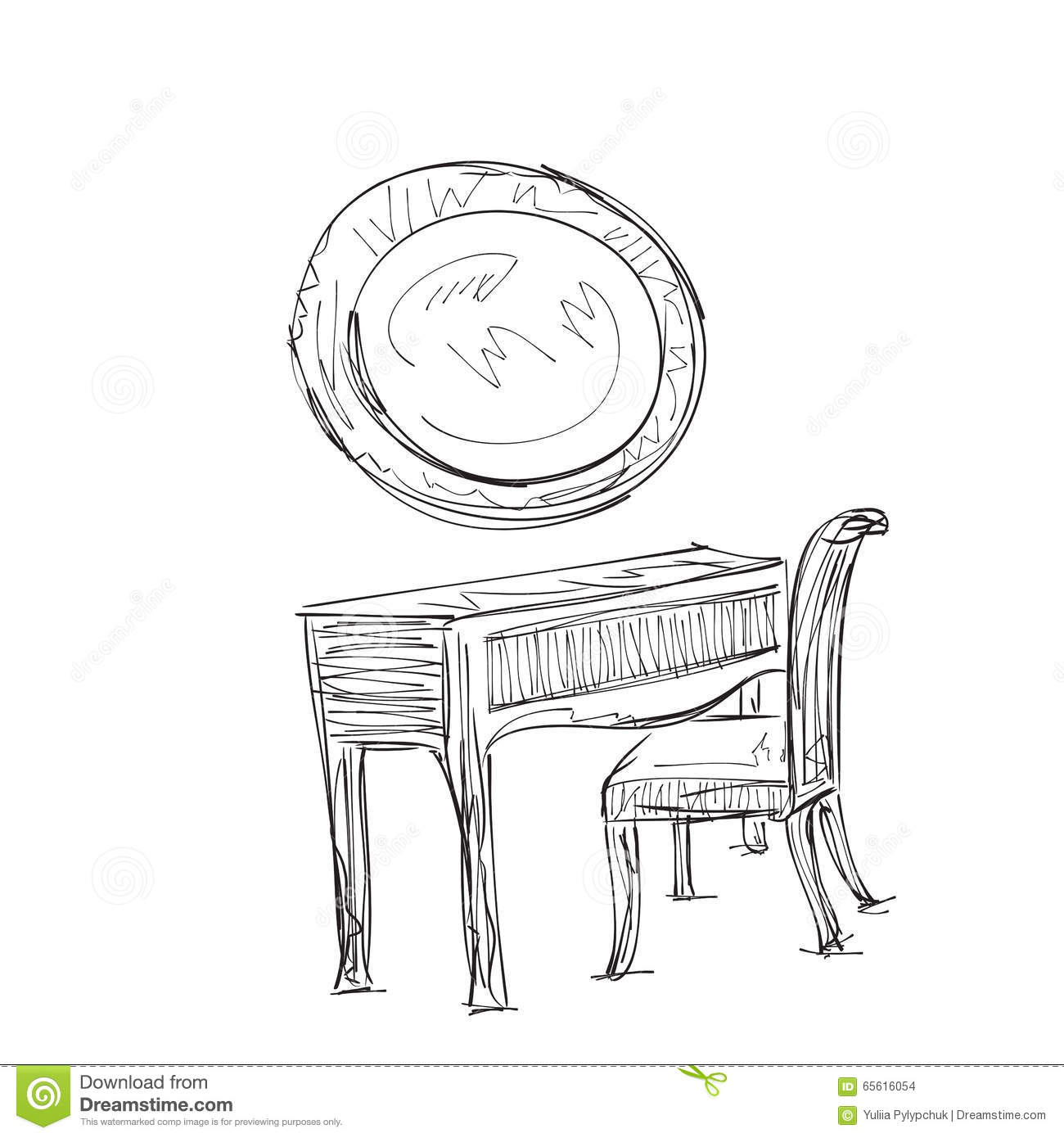 make up  vanity table and folding chair illustration