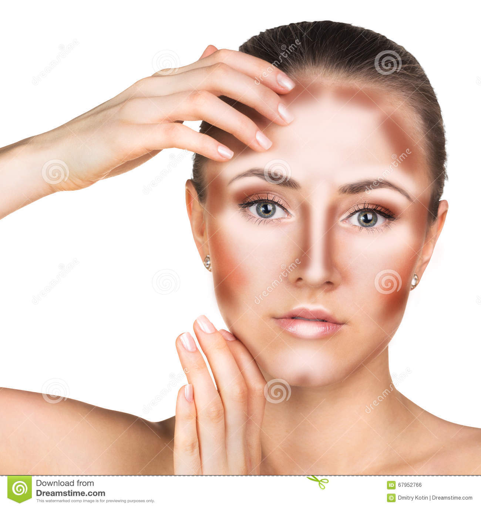 Make Up Woman Face. Contour And Highlight Makeup. Stock Photo ...