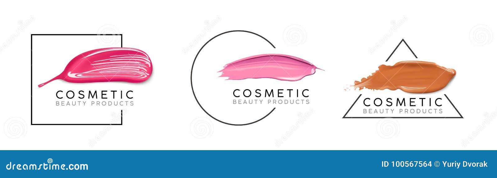 Make-updesignschablone mit Platz für Text Kosmetisches Logokonzept der flüssiger Grundierung, des Nagellacks und des Lippenstifta