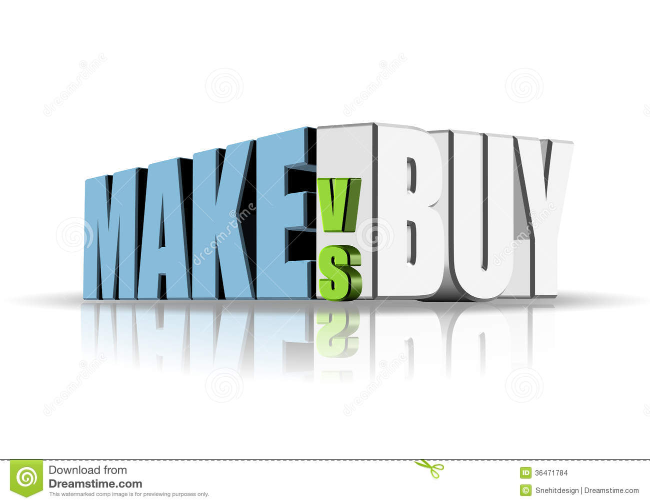 An illustration of make versus buy concept.: www.dreamstime.com/stock-images-make-versus-buy-illustration...