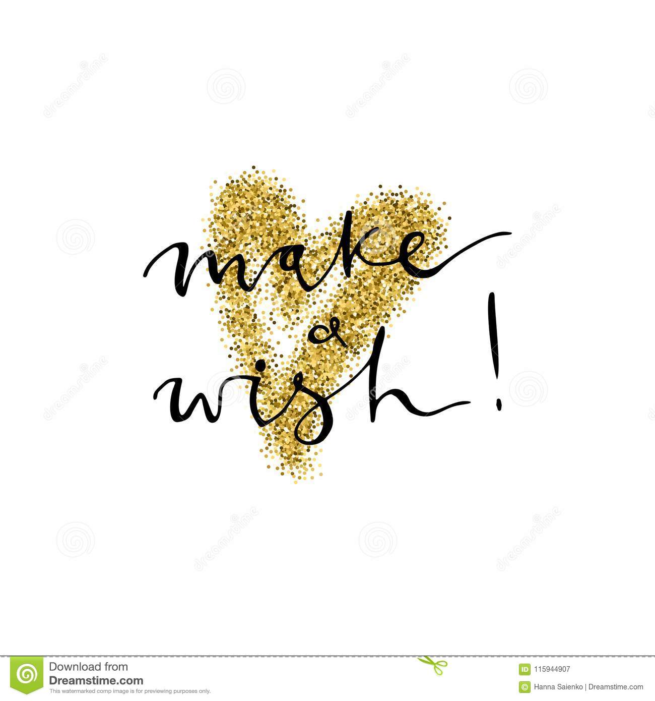 make a wish handmade lettering with gold glitter heart for christmas new year cards and