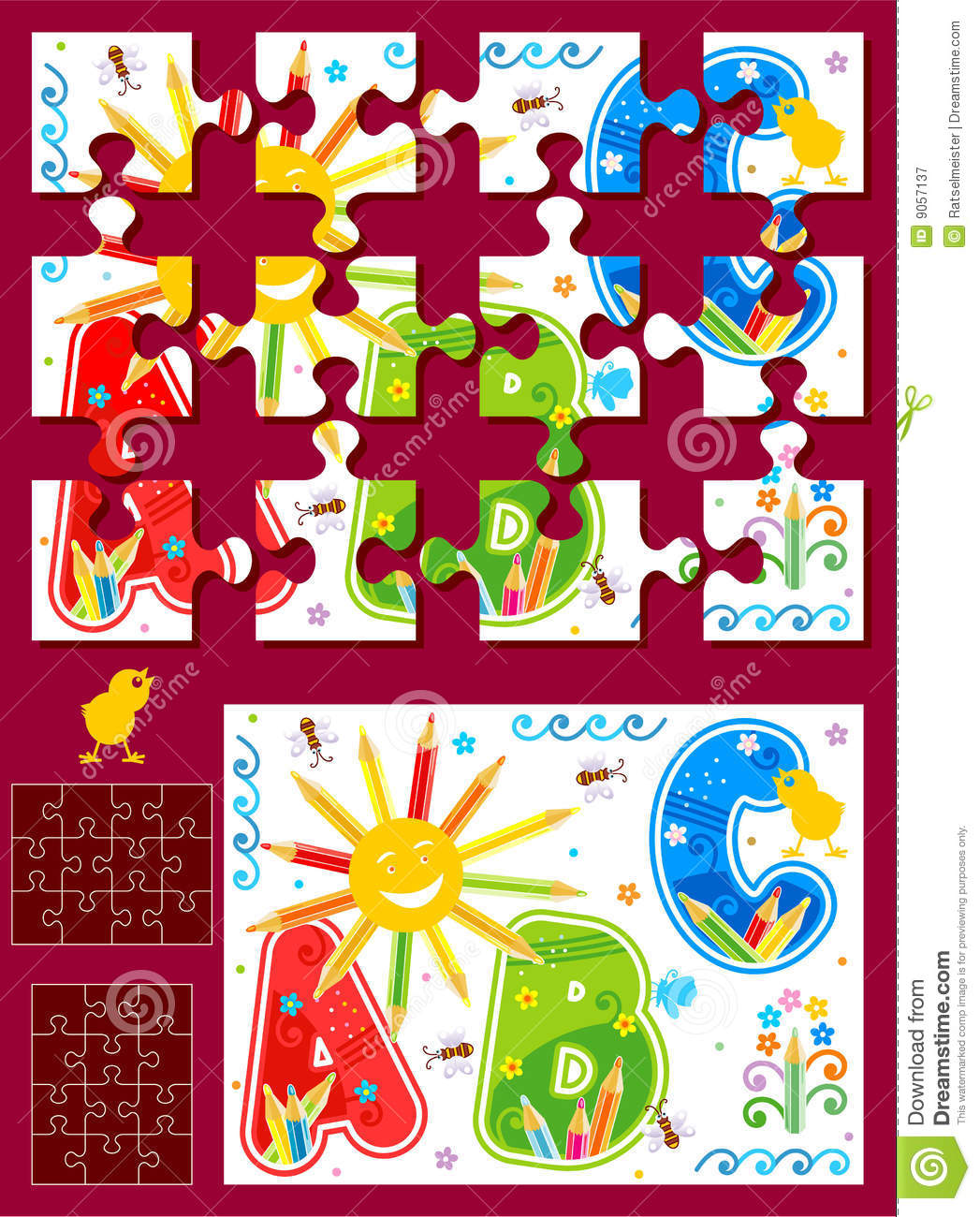 make your own jigsaw puzzle kit stock vector illustration of