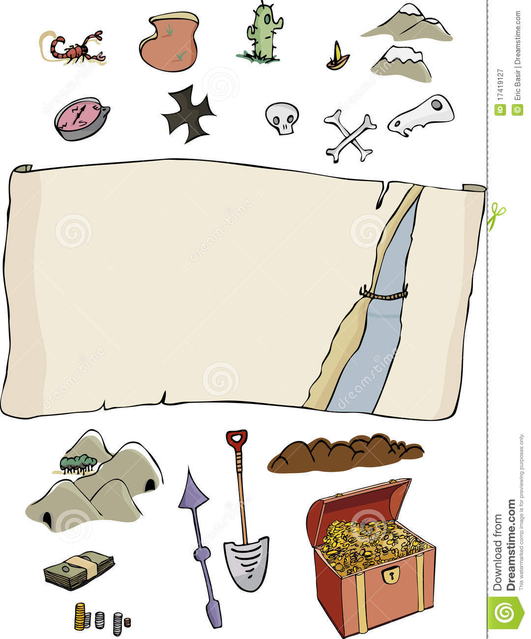 ... treasure hunter map template with optional items. Fun for all ages
