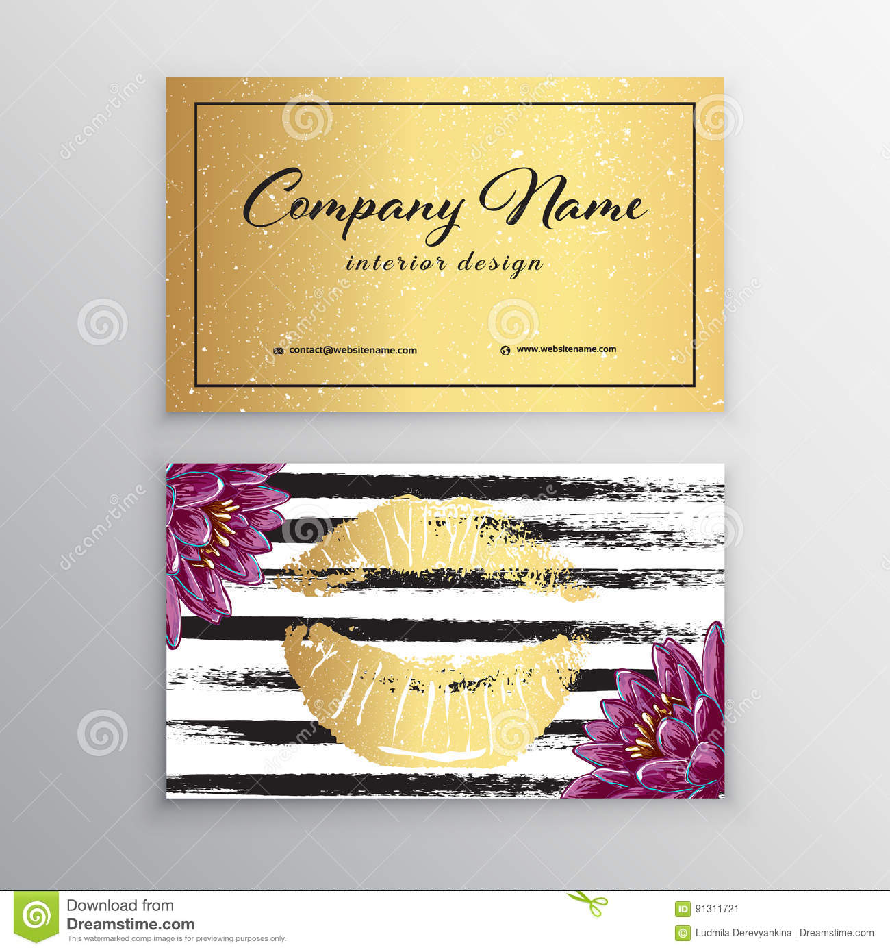 Makeup Artist Business Card Business Cards Template With Gold Lips