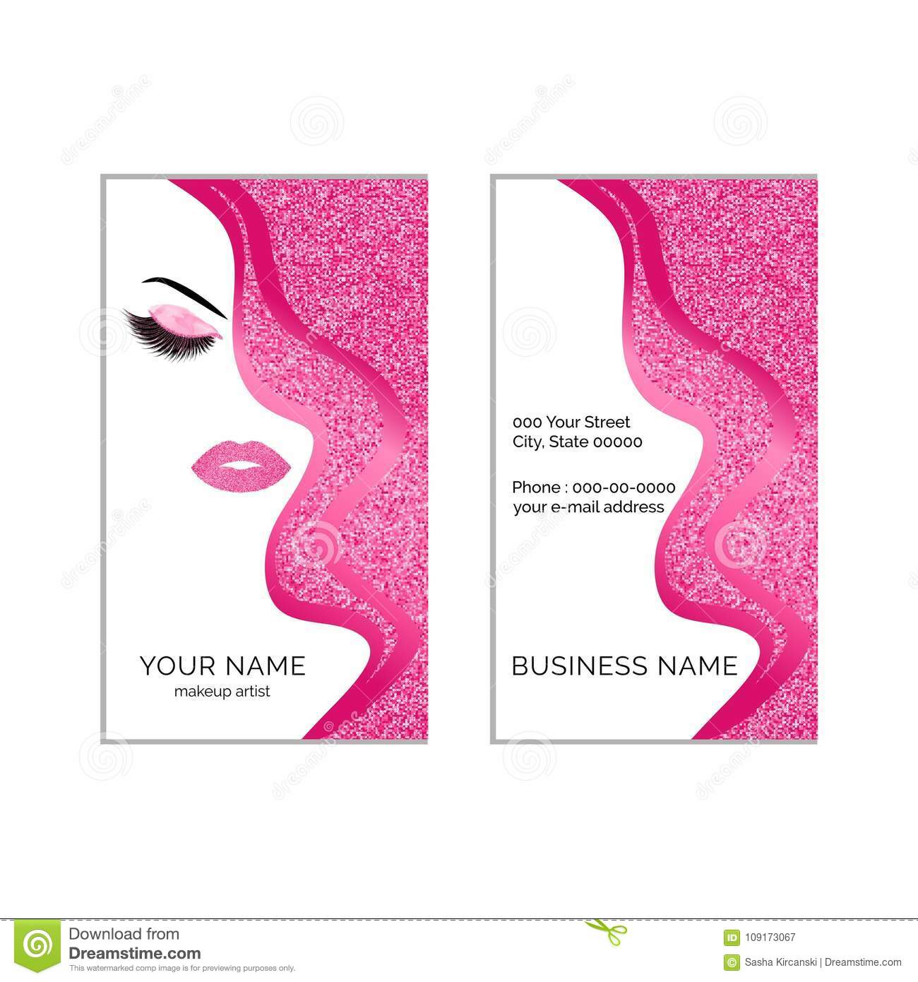 Makeup artist business card vector template stock vector makeup artist business card template flashek Image collections