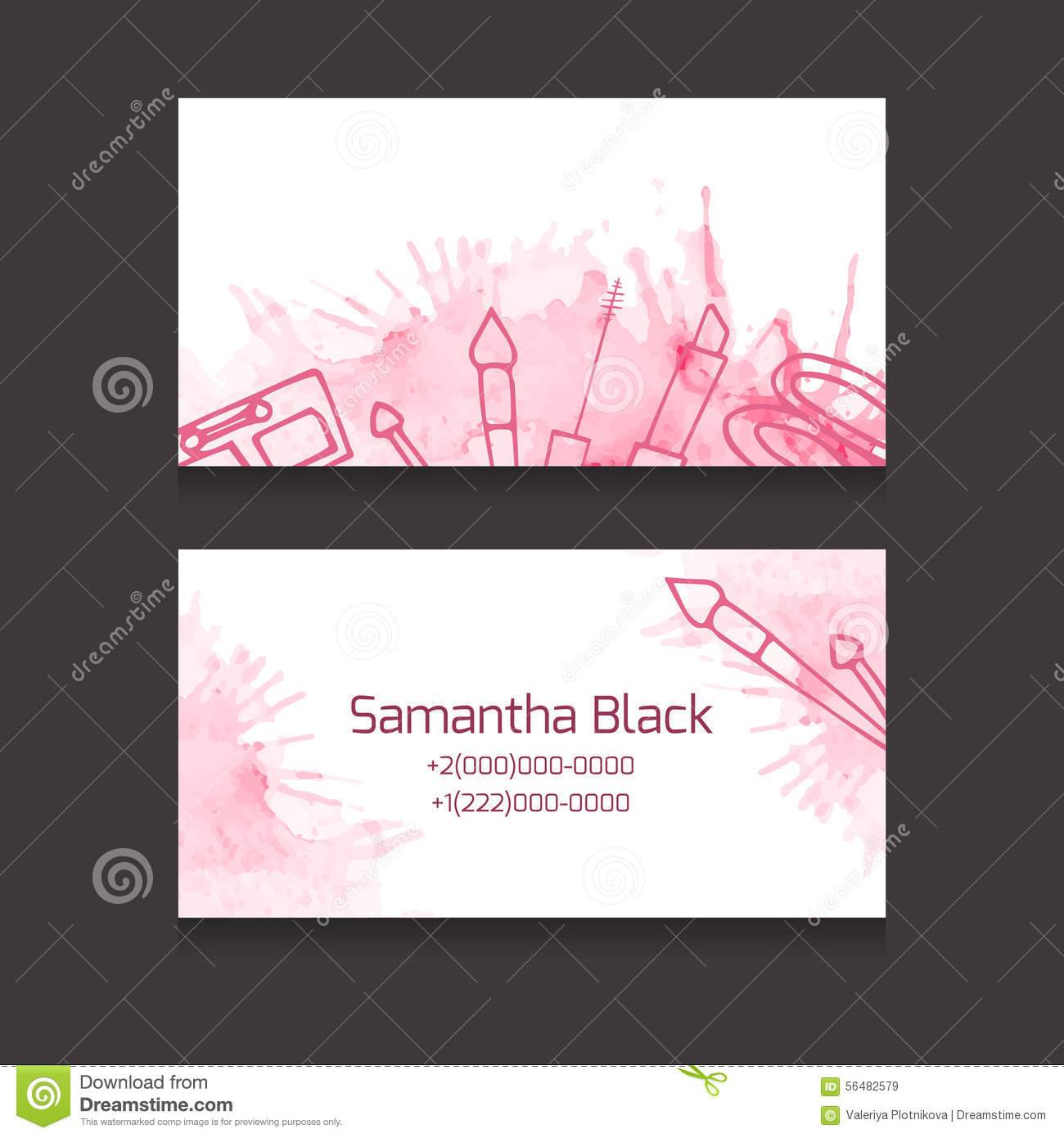 makeup artist business card stock vector illustration of