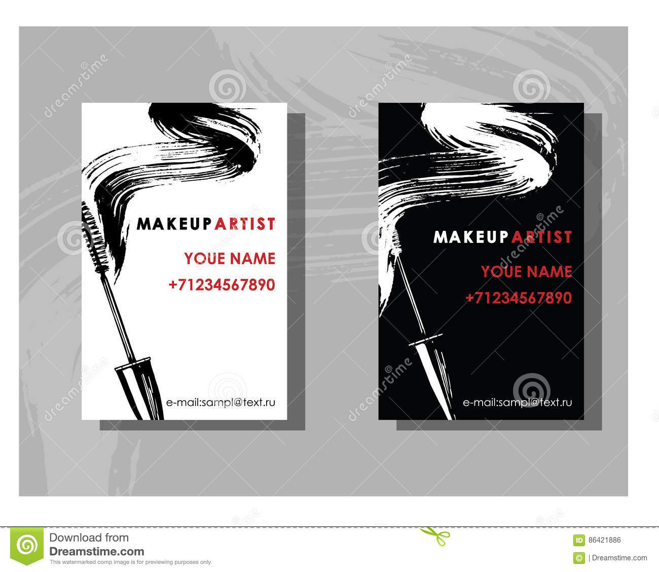 Makeup Artist Business Card Vector Template With Makeup Items