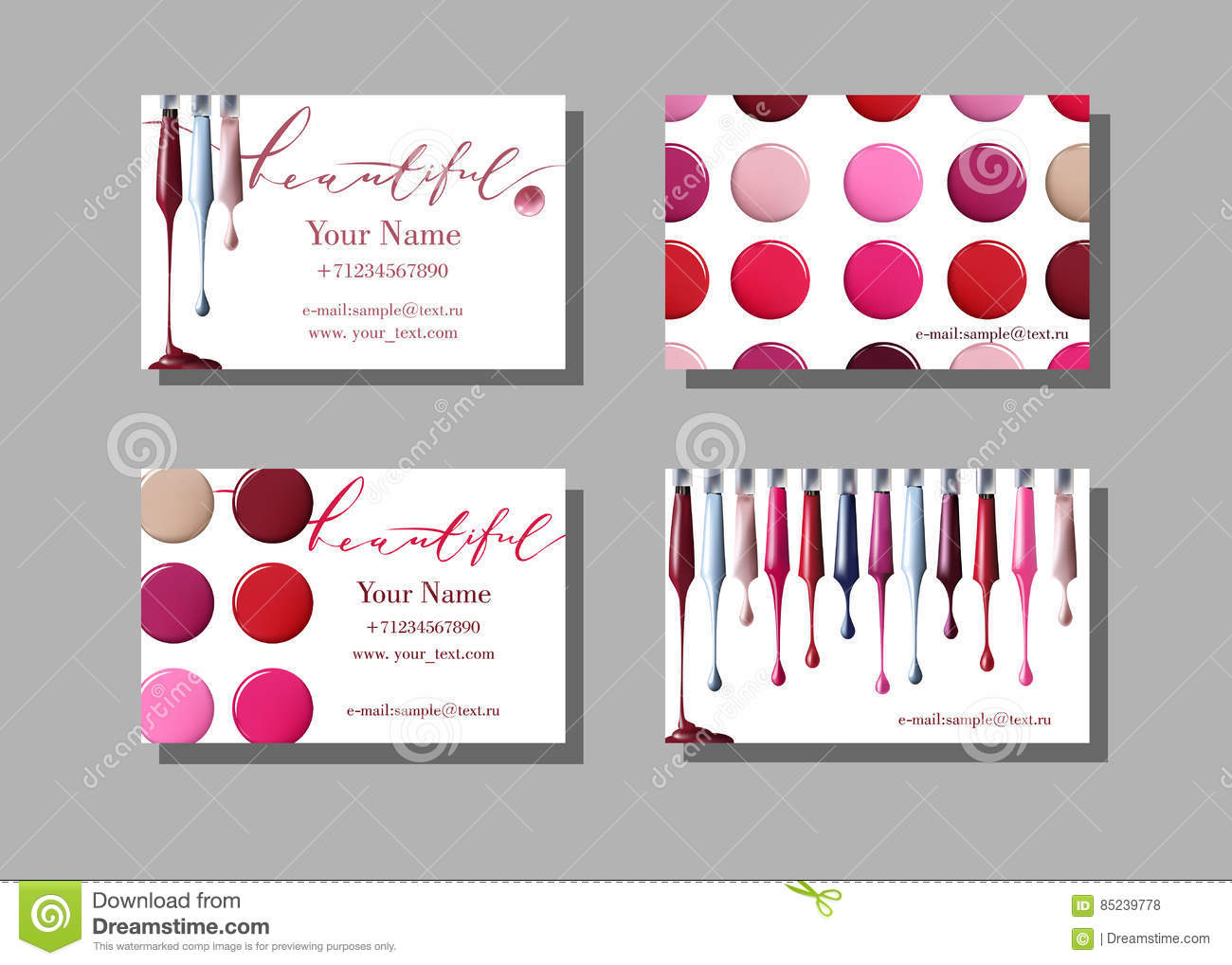 Makeup Artist Business Card Vector Template With Items Pattern Nail Polish Royalty Free Stock Image